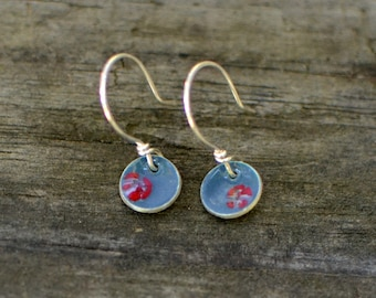 small slate grey and red rose enameled earrings