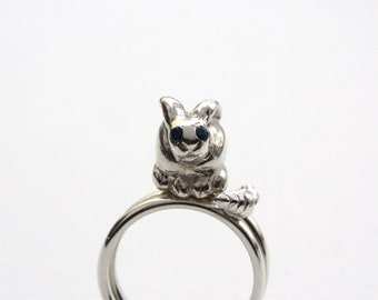 Bunny & Carrot Rings, Sterling Silver, Blue Sapphire, Rabbit Ring, Precious Jewellery. Handmade in England.