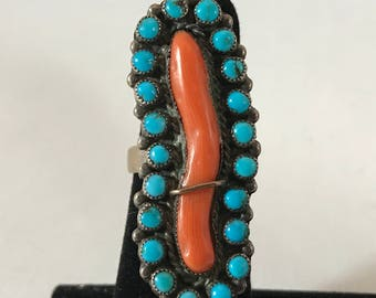 Zuni Branch Coral & Turquoise Ring