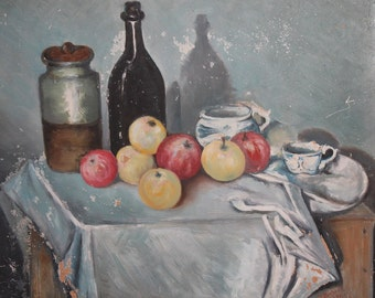 1973 oil still life apples painting