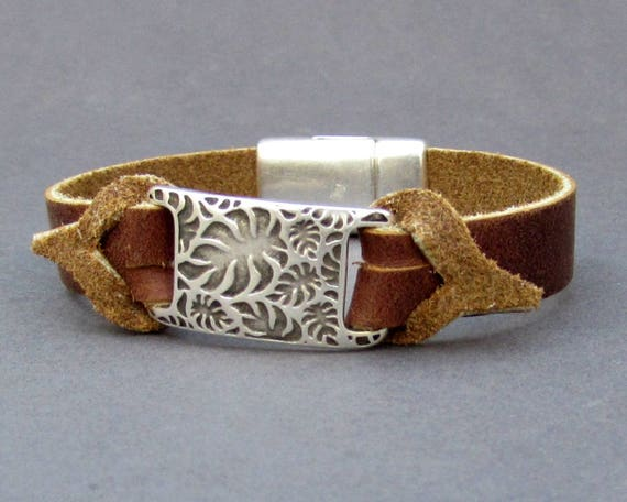 Mens Bracelet Gift For Men Mens Leather bracelet Cuff Customized On Your Wrist