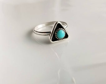 Natural triangle shaped Turquoise Stone Sterling Silver Ring- Size 5, 5.5, 6, 6.5, 7, 7.5, 8, 8.5, 9, 9.5- Boho Chic