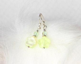Yellow Flower Earrings, Green Polished Czech Glass Earrings, Feminine Floral Jewelry, Mother's Day Gifts, Lightweight Dangle Earrings