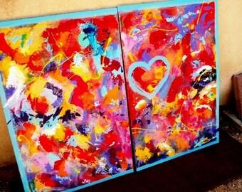 Magic of Joy- 2 Panel Acrylic1-Hearts Large Painting
