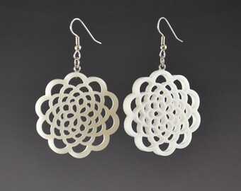 5 Layer Flower of Life Drop Earrings Upcycled White Corian Sacred Geometry Mandala - Handmade Recycled Earrings