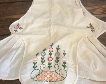 Vintage two sided apron, bib. Hand Embroidered. Hand sewn.