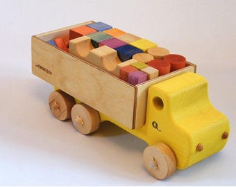 Yellow Wooden truck and blocks