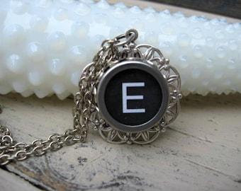 Typewriter Key Jewelry - Letter E Necklace