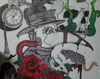 Plague Doctor Color Drawing