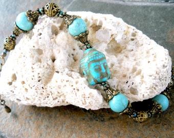 Buddha Bracelet Ethnic Style Turquoise Brass Buddha Jewelry Enlightenment Bracelet Free Shipping Gift for Wife Buddha Jewelry Gift for Her