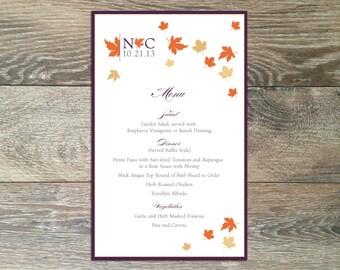 DIY Printable Wedding Menu: Blustery Day