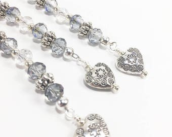 Blue Grey Crystal & Silver Heart Ornaments, Heart Beads, Delicate Ornaments, Suncatchers, Crystal Dangles, Sparkling Ornaments, Valentine