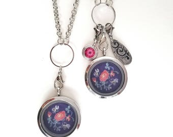Floral Locket - Flower Jewelry - Bee Charm Necklace - Floating Locket Necklace - Mothers day gift - Wearable Art