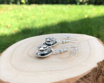 Tea cup earrings, gift for tea lovers, tea cup jewellery, gift for her, tea party gift, tea cup set, gift for friend, whimsical gift
