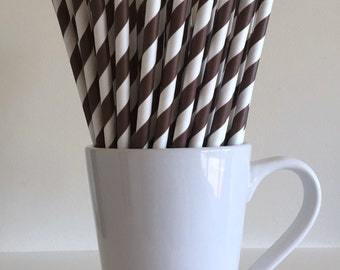 CLEARANCE Brown Striped Paper Straws Party Supplies Party Decor Bar Cart Cake Pop Sticks Mason Jar Straws Graduation Party Brown Decor