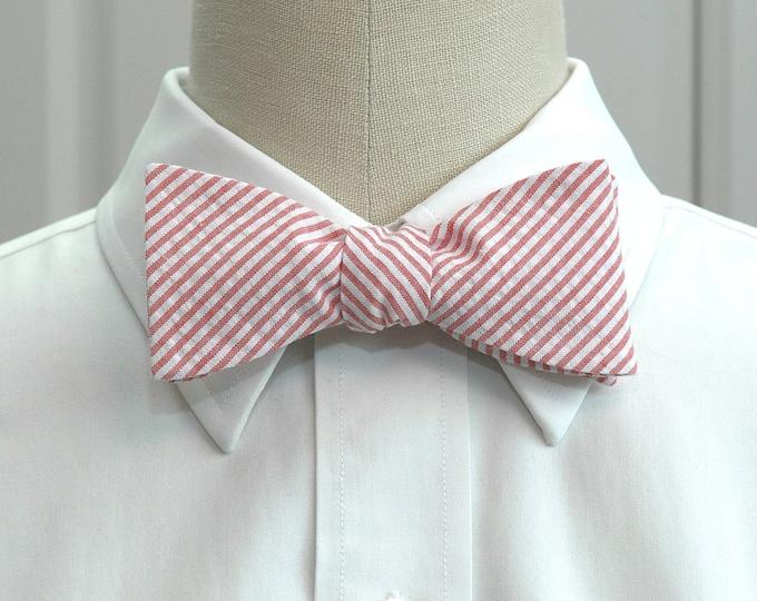 Men's Bow Tie. coral seersucker, salmon bow tie, wedding party tie, groom bow tie, groomsmen gift, summer bow tie, wedding bow tie,