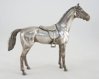 English Saddle Horse Figure Silver Plate