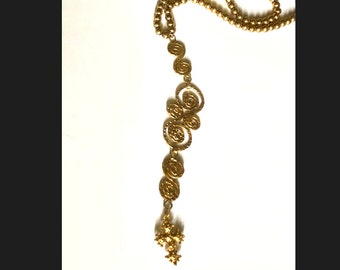 Vintage Gold Bead Monet Necklace with an Etruscan Pendant