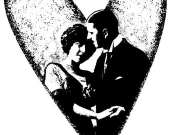 EZ Mounted Rubber Stamp Edwardian 1900s Wedding Couple in Heart Altered Art Craft Scrapbooking Cardmaking Collage Supply.