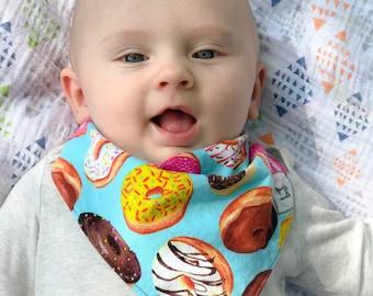 Donut Bib, Bandana Bib, Baby Bib, Doughnut Bibdana, Boy or Girl Dribble Bib, Baby Shower Gift, Baby Accessories, New Baby Gift