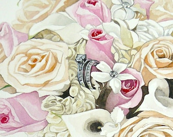 Custom Painting From Photo Wedding Rings Painting Anniversary gift Original Watercolor Painting Wedding gift  Holiday gift