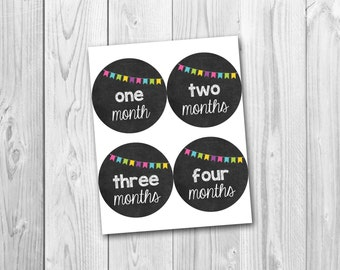 Printable monthly onesie stickers, chalkboard stickers, baby's first year, photo prop stickers