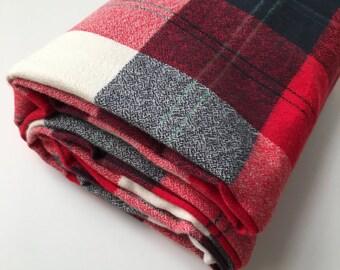 Red Plaid Crib Sheet - Woodland Crib Sheet - Fitted Crib Sheet, Baby Crib Sheet, Nursery Bedding, Crib Sheet Boy, Plaid Crib Bedding