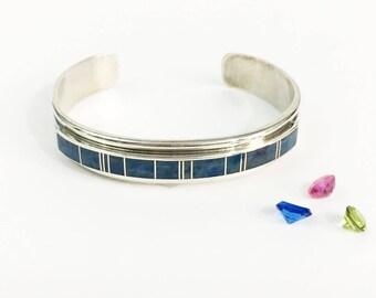 Vintage YAZZIE Navajo Cuff Bracelet - Sterling Silver Blue Denim Lapis - Native American Jewelry 925