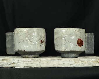 Ceramic Espresso Cups - Set of 2, Handmade Yunomi Cups, one of a kind, OOAK