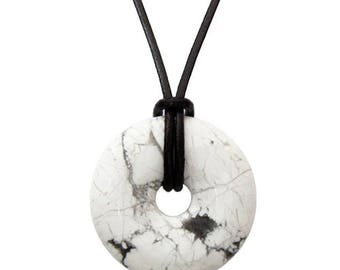 Chinese pi 30mm donut pendant necklace - howlite
