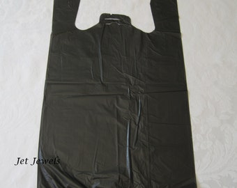 100 Plastic Bags, Black Bags, Shopping Bags, Merchandise Bags, T Shirt Bags, Black tshirt Bags, Tee Shirt Bags, Bags With Handles 11x22