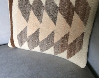 Handwoven Throw Pillow in Brown, Off White and Beige. Hand Dyed Wool with Cotton Back