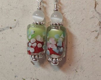 Lime Green over Red  Flowered Tube Glass Bead Earrings  with  White Accent Silver