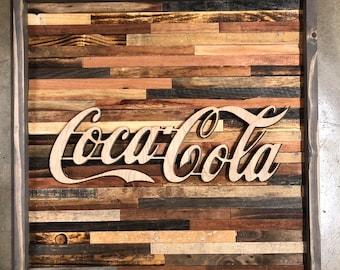 Rustic Coca Cola wall art
