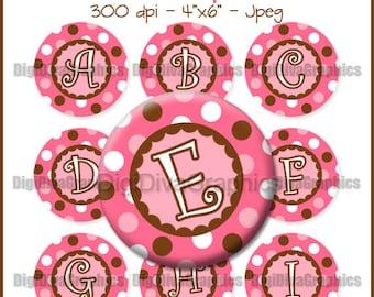 Pink Polka Dot Alphabet Bottle Cap Images 1 Inch Circles Digital JPG A-Z - Instant Download - BC1054