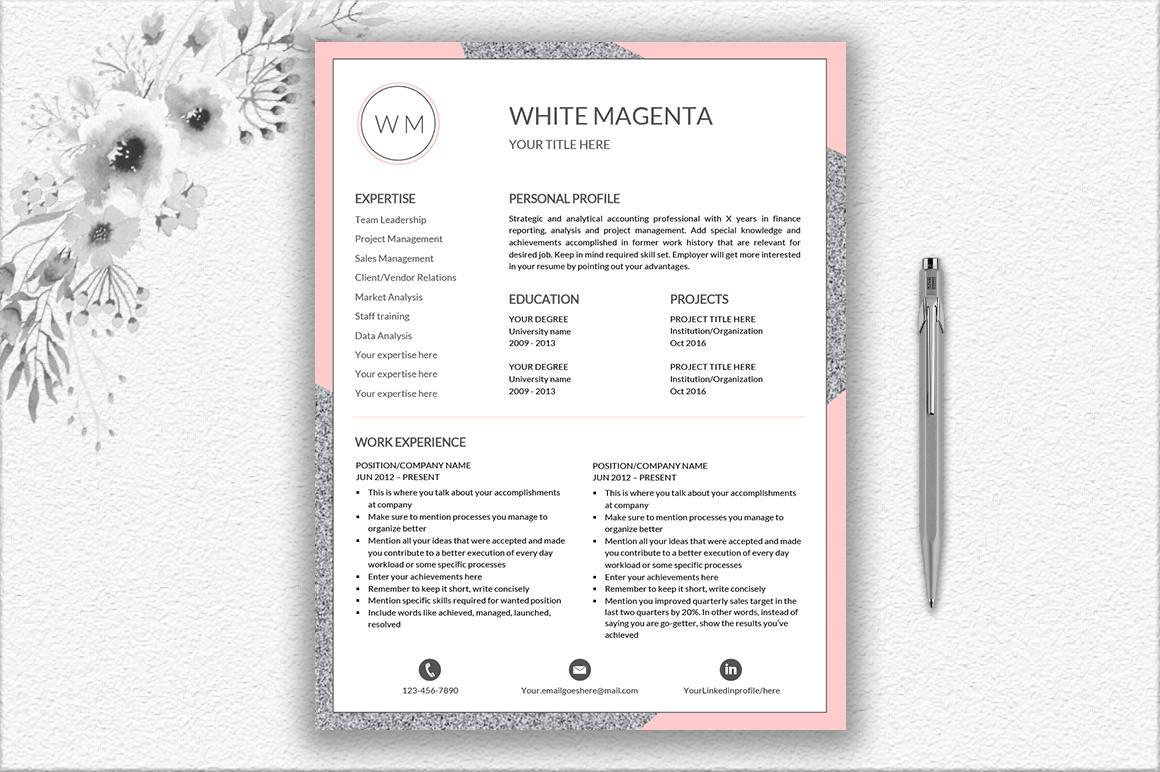 Plantilla de curriculum vitae profesional plantilla/CV carta