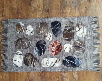 Felted rug with stones, Hand felt wool rug, Wall or floor carpet, Decorative rug, OOAK small carpet, Mat for bedroom, Living Room rug