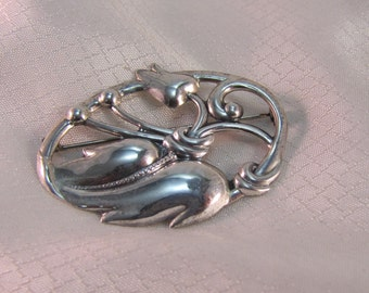 Vintage Mid Century Sterling Flower and Leaf Brooch, Arts and Crafts Style