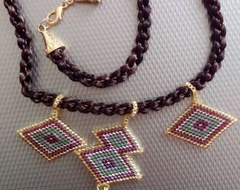 Authentic Necklace With Carpet Figure and Brown Tassel