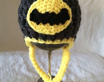 Batman Crochet Earflap Hat size newborn