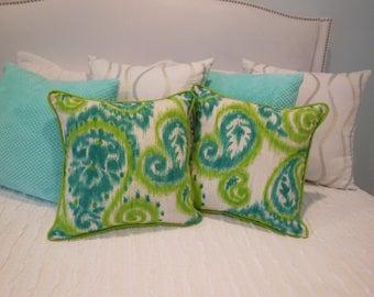 Paisley Pillow - Ikat Pillow - Lime Green Pillow - Teal Pillow - Pillow with Fabric Piping - Teal Basketweave Pillow - Ikat Paisley Pillow