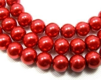 8mm Red Glass Pearl Beads - full strand 16 inch