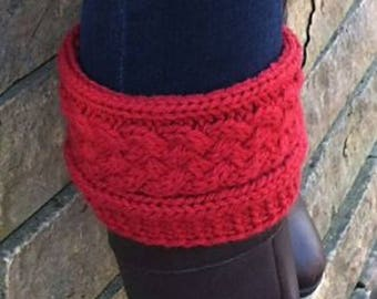 Womens/Teens Handmade Cabled Boot Cuffs, Boot Toppers. All Colors Available.