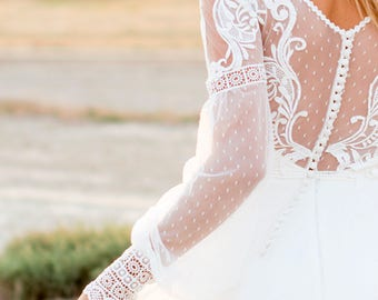 bohemian wedding dress, boho wedding dress, dotted tulle wedding dress, lace wedding dress, backless wedding dress, boho bridal gown,