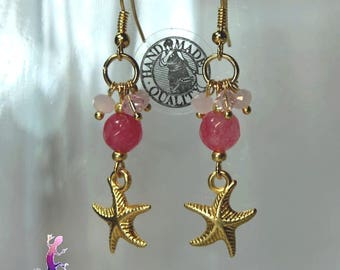 """Earrings """"Guava"""" beads in faceted pink agate pendant and faceted Crystal beads with gold starfish"""