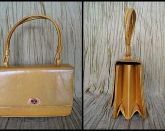 60s MOD Yellow purse / 60s Jackie O yellow handbag / vintage yellow purse / 60s yellow calfskin purse / yellow evening bag