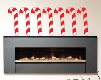 Wall Decals CANDY CANE Holidays Christmas wall decor stickers by Decals Murals Set of 7