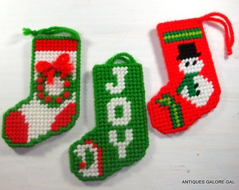 Vintage Needlepoint Christmas Ornaments, Stockings, Set of 3, Joy,  Snowman, Red and Green, Holiday Decor, Package Decorations  (352-14)