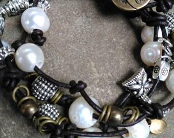Wrap bracelet, leather and pearl double wrap bracelet, Sundance style
