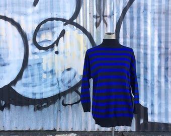 Vintage 1990s Electric Blue And Black Striped Sweater (Size Medium)